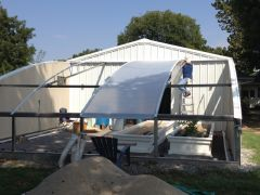 The greenhouse under construction Solawrap installation.